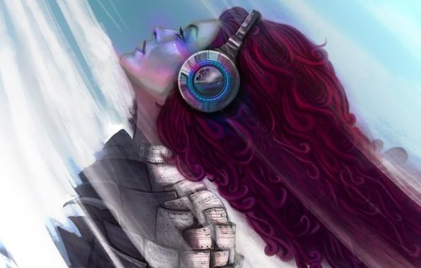 Картинка девушка, музыка, наушники, арт, профиль, красные волосы