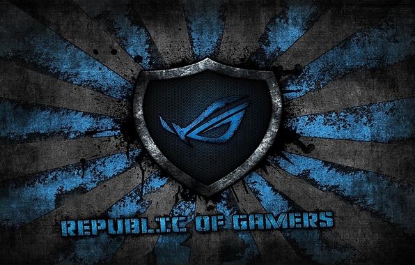 Картинка logo, grey, blue, background, brand, asus, rog, republic of gamers, asus gamer