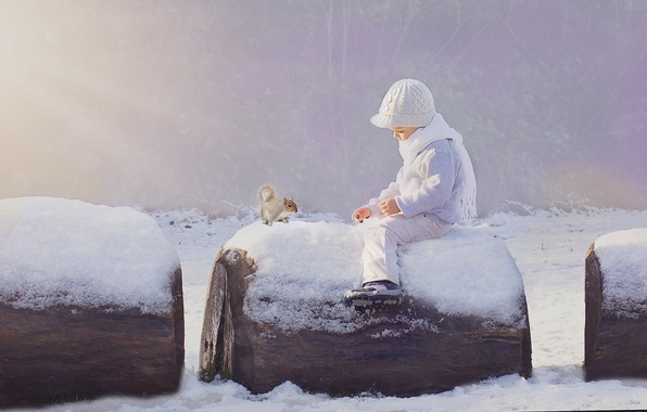 Картинка зима, снег, мальчик, белка