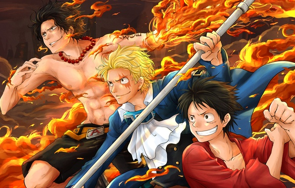 Картинка anime, art, one piece, Portgas D. Ace, Ace, Luffy, Monkey D. Luffy