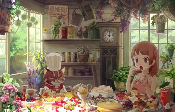 Картинка кот, цветы, девочка, сладости, торт, домик, ест, пирожные