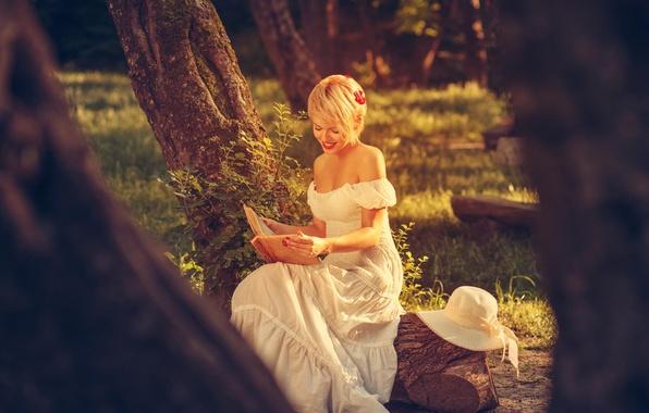 Картинка лето, девушка, природа, белое, платье, блондинка