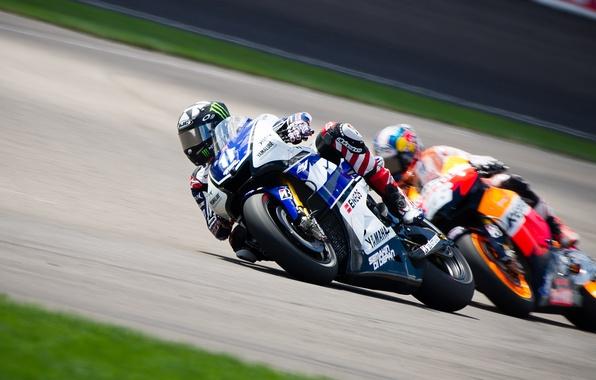Картинка Дорога, Спорт, Скорость, Поворот, Мотоцикл, Гонщик, Yamaha, MotoGP, Два