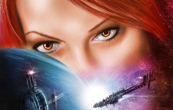 Картинка глаза, взгляд, девушка, космос, лицо, фантастика, планета, арт, галактика, красные волосы