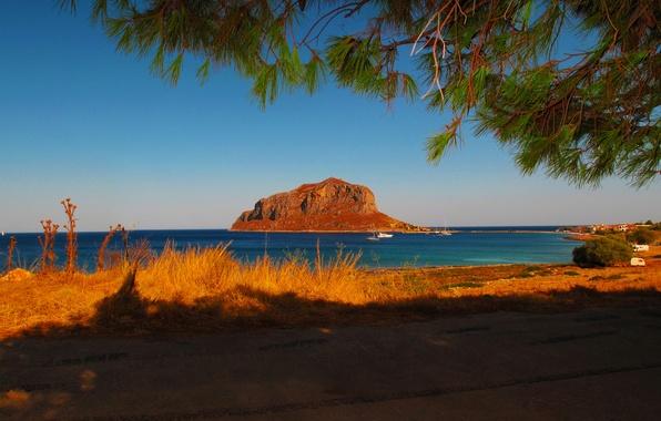 Картинка фото, Природа, Море, Греция, Пейзаж, Побережье, Laconia