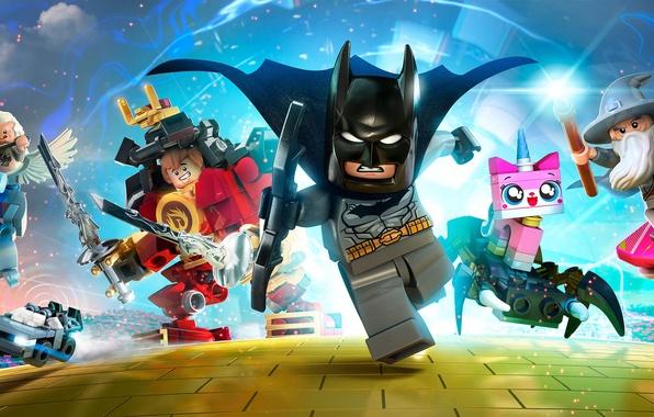 Картинка Бэтмен, Гендальф, персонажи, Game, 2015, LEGO Dimensions