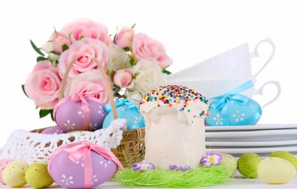 Картинка цветы, розы, яйца, букет, Пасха, корзинка, кулич, крашенки