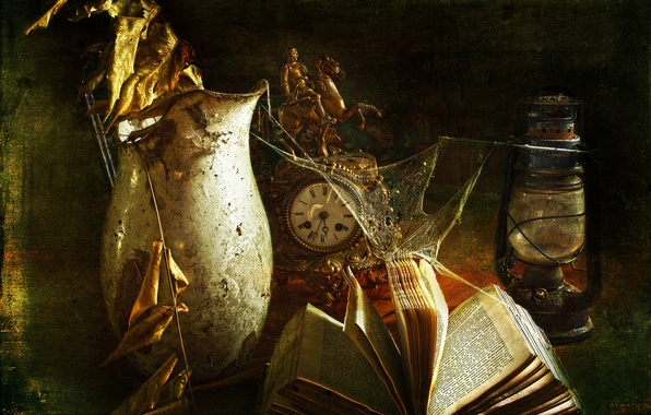 Картинка старина, стиль, часы, лампа, паутина, книга
