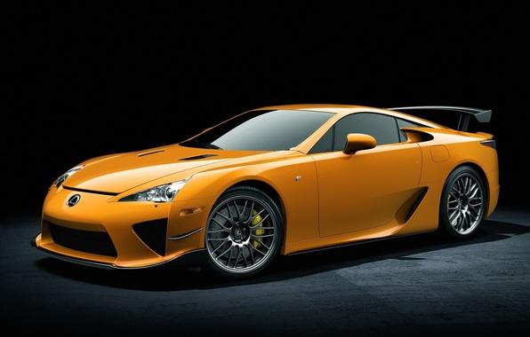 Картинка машины, widescreen, cars, yellow, lexus lfa, жёлтый лексус
