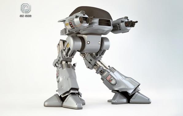 Картинка рендеринг, оружие, фантастика, фильм, робот, RoboCop, 3DPORTFOLIO, OCP, ED-209, Craig Davies, Enforcement Droid Series 209