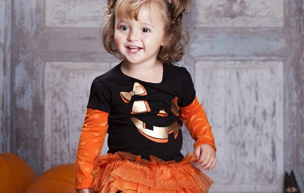 Картинка радость, улыбка, ребенок, малыш, девочка, Halloween, Хэллоуин, красивая, Pumpkin, маленькая, beautiful, child, little girl