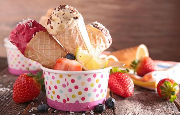 Картинка ягоды, клубника, мороженое, fresh, десерт, сладкое, sweet, strawberry, dessert, berries, ice cream