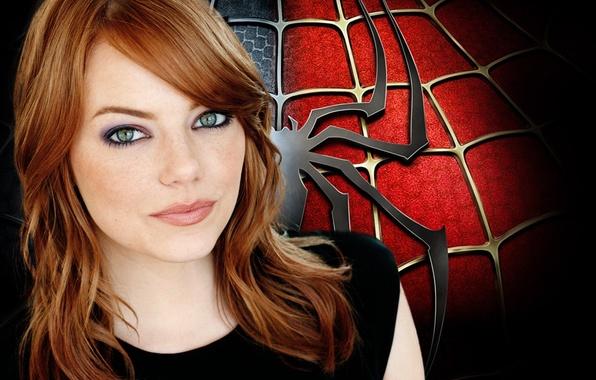 Фото обои emma stone, человек паук, паук, фильмы, девушка, рыжие волосы, Эмма стоун, чёрный цвет.