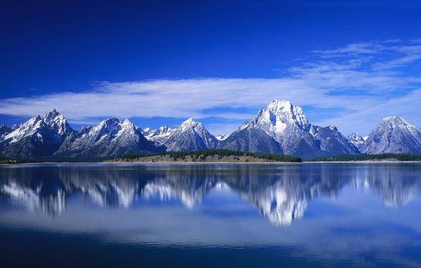 Картинка небо, вода, пейзаж, горы, природа, landscape, nature, background