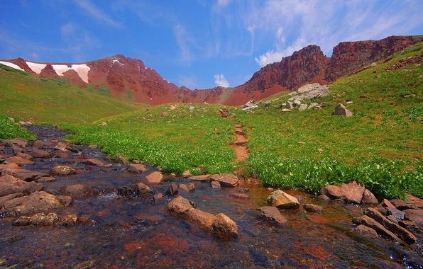 Картинка лето, небо, трава, облака, горы, зеленый, ручей, камни