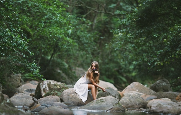Картинка Girl, Water, Alone, Wallpaper, Widescreen, Rocks, Mood, Trees, Fullscreen