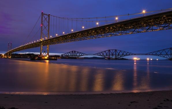 Картинка небо, ночь, мост, огни, река, Шотландия, освещение, Великобритания, синее, river, фиолетовое, Scotland, Great Britain, Forth …