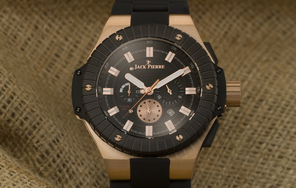 Картинка black, watch, fabric, Jack Pierre, bronze