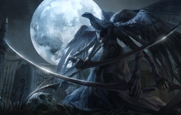 Картинка ночь, оружие, луна, арт, коса, чудовище, bloodborne, jlien-, mergos wet nurse