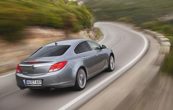 Картинка Дорога, Машина, Серый, Опель, Insignia, Opel, Автомобиль, BiTurbo