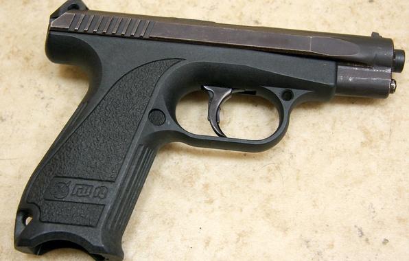 Картинка пистолет, данные, gun, удобный, background, macro, fly, close, weapons, Российский, cover, разработка, показатели, калибр, ammo, …