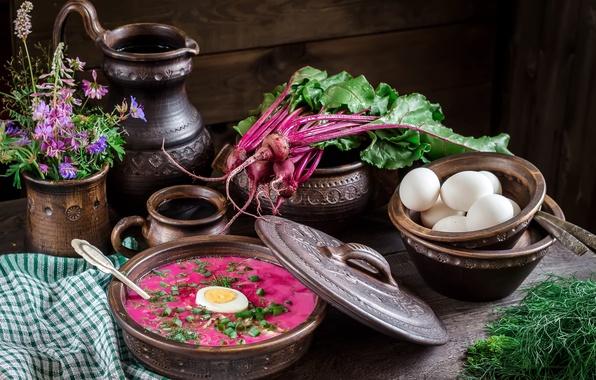 Фото обои укроп, цветы, натюрморт миски, свекла, свекольник, ботва, яйца, кувшин, суп