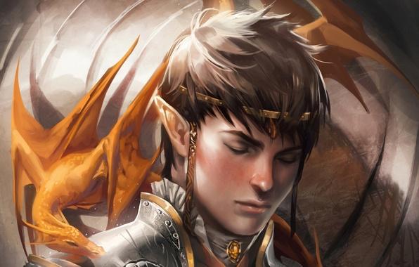 Картинка дракон, эльф, фэнтези, арт, fantasy, art, dragon, elf, Faithful, Sakimichan