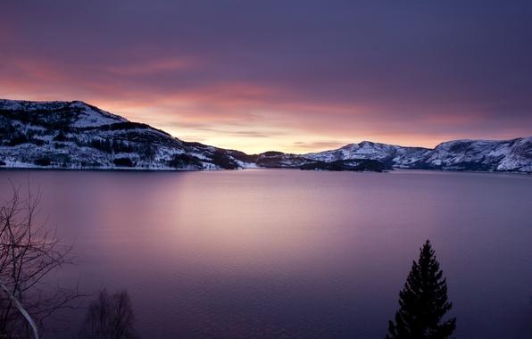 Картинка небо, вода, облака, деревья, горы, природа, озеро, гладь, пейзажи, ели, озёра