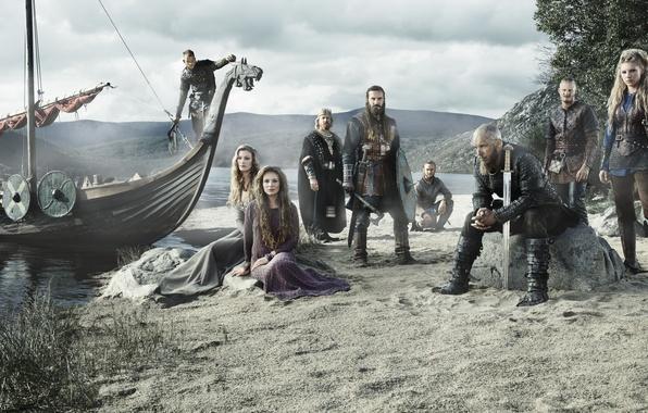 Картинка сериал, воины, исторический, Vikings, Викинги, драккар