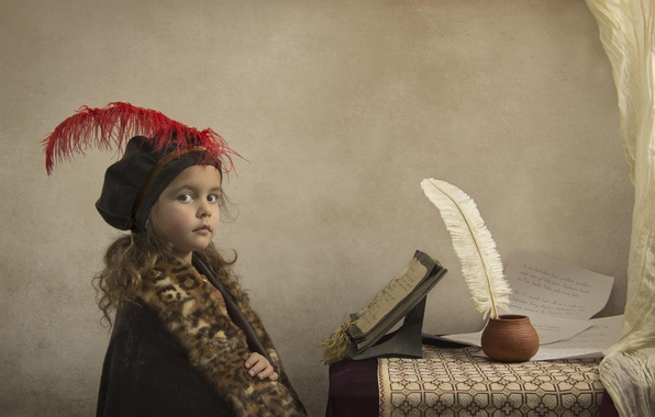 Картинка перо, девочка, тетрадь, рукопись