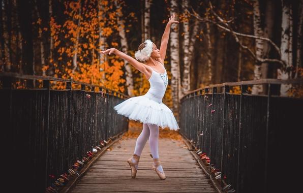 Картинка осень, девочка, балерина