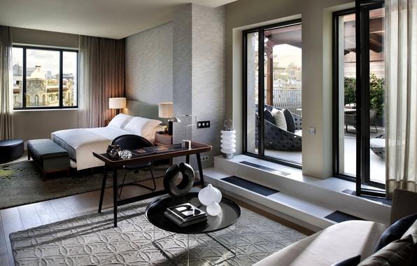 Картинка белый, дизайн, стиль, серый, комната, диван, кровать, интерьер, подушки, двери, окно, балкон, спальня, бежевый, столики