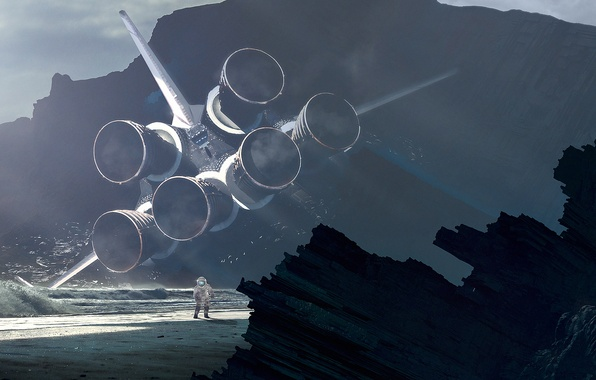 Картинка пляж, вода, скалы, берег, крушение, космонавт, скафандр, турбины, костюм, space shuttle, астронавт, космический челнок, приземление