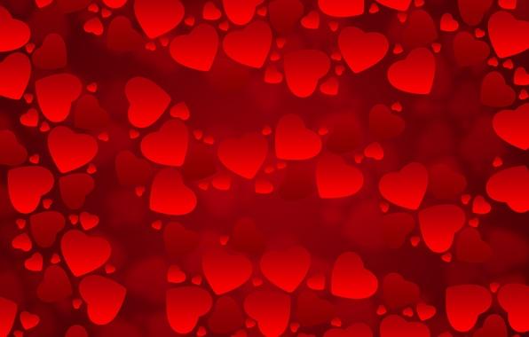 Картинка красный, фон, текстура, сердечки