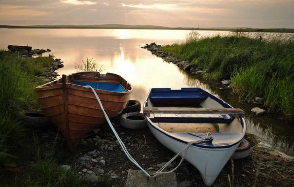 Картинка облака, закат, озеро, лодки, вечер