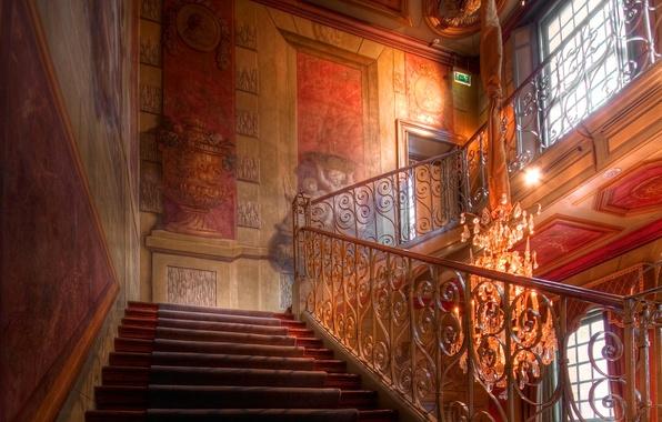 Картинка hdr, лестница, люстра, ступени, музей, дворец