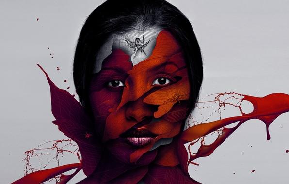Картинка глаза, девушка, брызги, лицо, волосы, рисунок, пауки, паутина, голова, губы