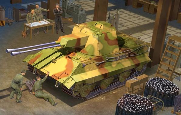 Картинка war, art, painting, tank, ww2, panzer, E-50 FlakPanzer