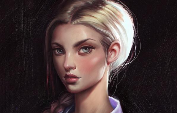 Картинка взгляд, девушка, лицо, волосы, красота, арт, коса
