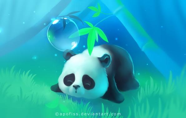 Картинка трава, дерево, огоньки, панда, спит, лежит, пузырь, apofiss
