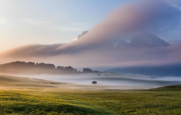 Картинка поле, небо, туман, Italy, Dolomites, Alpe di Siussi