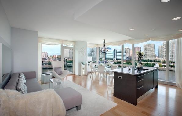 Картинка природа, стол, комната, диван, ковер, здание, интерьер, кресло, подушки, окно, квартира