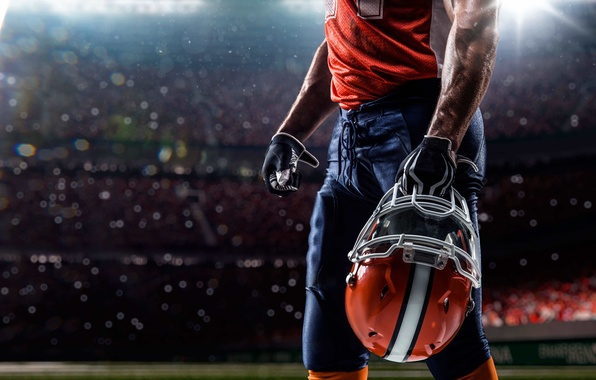 Картинка player, American football, helmet, protection