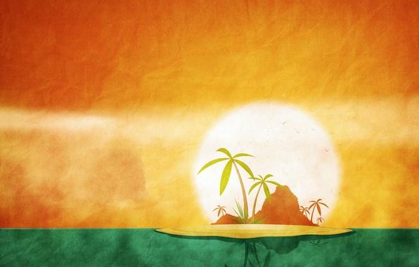 Картинка лето, солнце, пальма, остров, календарь, июнь