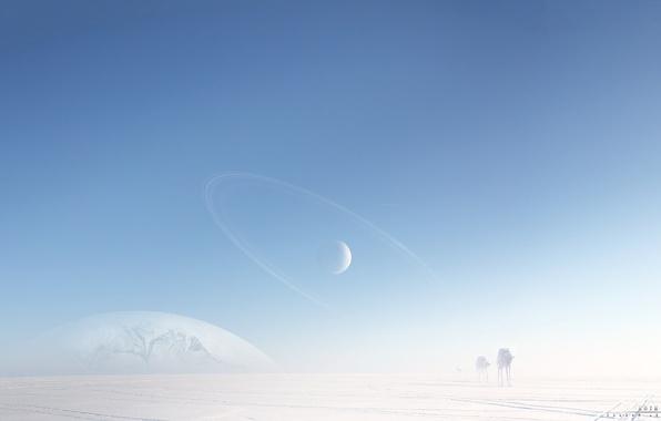 Картинка холод, снег, машины, роботы, арт, льдины, star wars