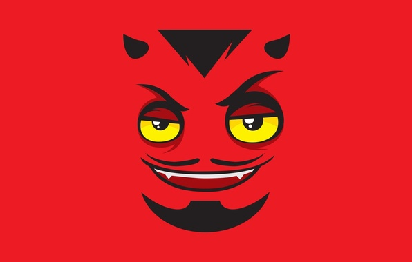 Картинка demon, red, devil, face, yellow eyes