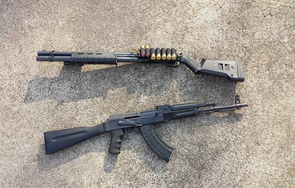Картинка оружие, автомат, ружьё, калаш, помповое, Remington 870