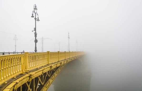 Фото обои туман, Margaret Bridge, Budapest