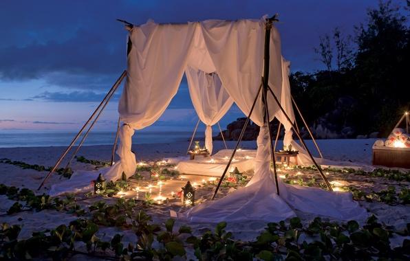 Картинка пляж, океан, романтика, вечер, свечи, beach, picnic by clelight