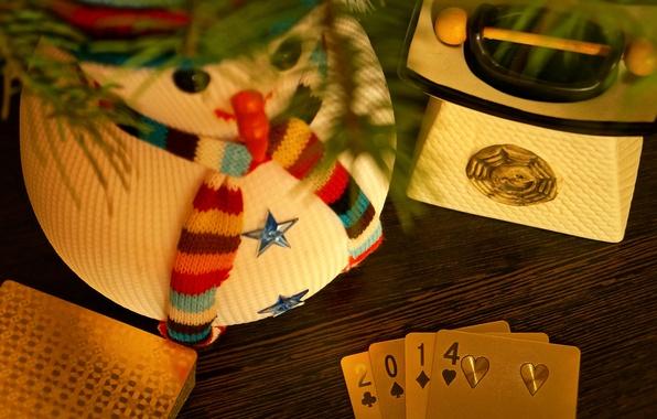Картинка зима, карты, золото, праздник, игра, рождество, Новый год, снеговик, покер, роскошь, 2014